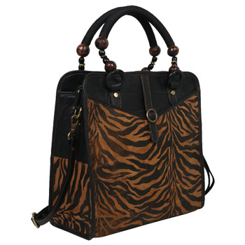 Tiger Top Handle Purse front view