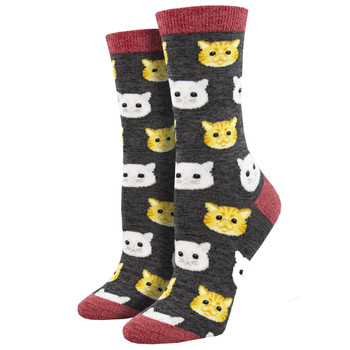Feline Good Kitty Cat Faces Women's Crew Socks