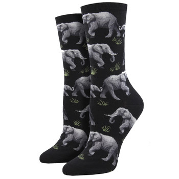 Elephants Raising A Herd Women's Crew Socks