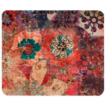 Grunge Boho Flowers Mouse Pad Mat