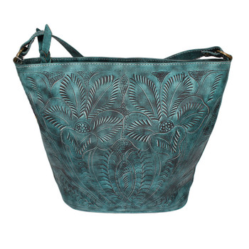 Aqua green hand-tooled floral design bucket bag.