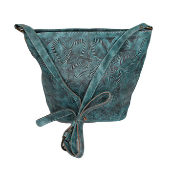 Aqua green hand-tooled floral design bucket bag back side.