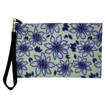 Purple Flowers Linen Wristlet Zippered Pouch