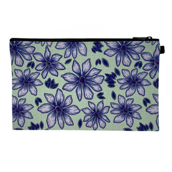 Purple Flowers Linen Wristlet Zippered Pouch back