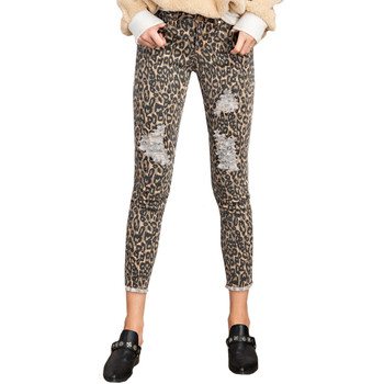 Leopard Animal Print Self Distressed Ankle Cut Pants