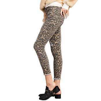 Leopard Animal Print Self Distressed Ankle Cut Pants side view