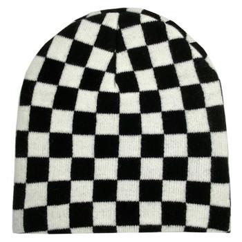 Black and White Checkered Beanie Cap