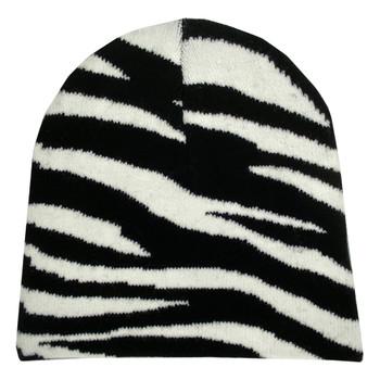 Zebra Animal Print Knit Beanie Cap
