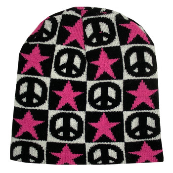PInk Stars and Peace Signs Beanie Cap