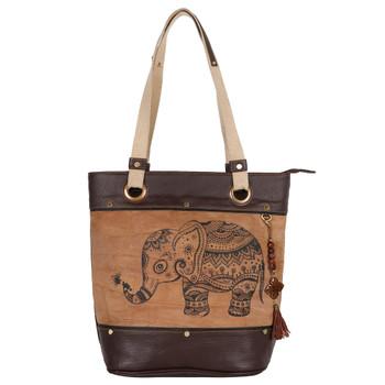 Upcycled Genuine Leather Elephant Tote Bag Purse
