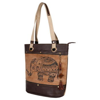 Upcycled Genuine Leather Elephant Tote Bag Purse front view