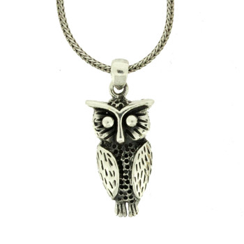 Sterling Silver Owl Pendant Necklace Charm Wildlife Animal