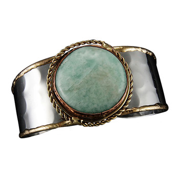 Janya Amazonite Gemstone Cuff Bracelet