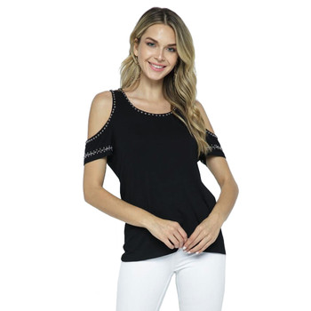 Vocal Cold Shoulder Top with Studs