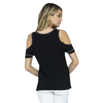 Vocal Cold Shoulder Top with Studs back view