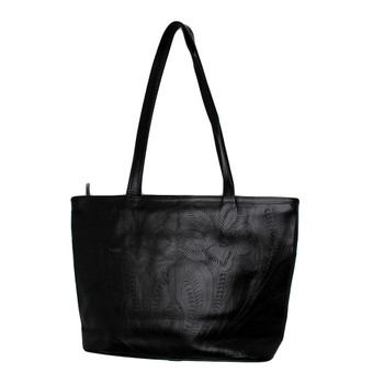 Backside of large black handmade tote purse by Leaders in Leather.