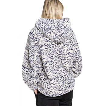 Leopard Print Modern Chic Sherpa Top with Hoodie back view