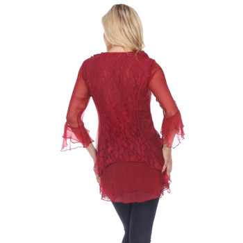 Pretty Angel Red Sheer Frilly Blouse back view