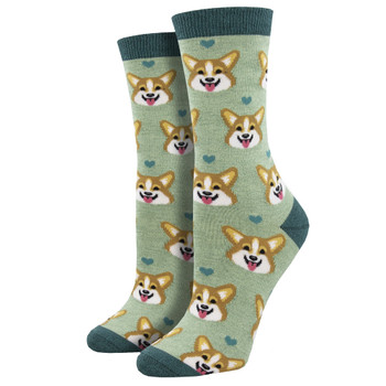 Corgi Faces Women's Crew Socks
