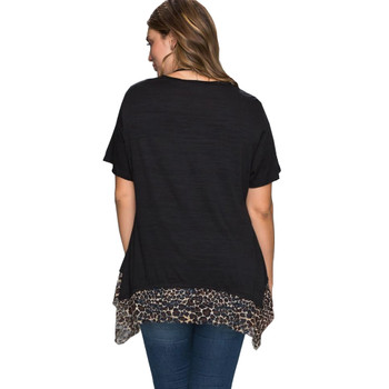 Leopard Print Lace Hem Short Sleeve Top back view