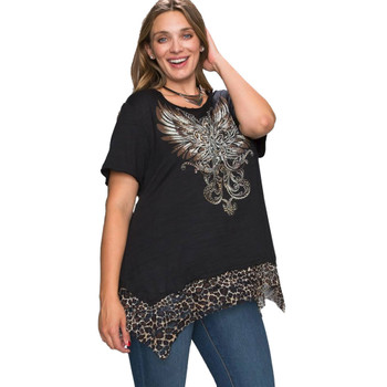Leopard Print Lace Hem Short Sleeve Top