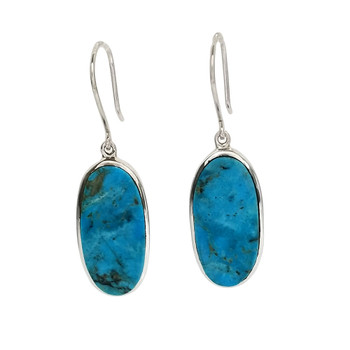 Large oval blue Turquoise dangle sterling silver earrings.