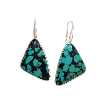 Large Turquoise sterling silver earrings.