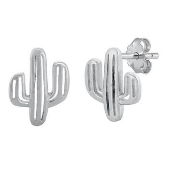 Desert Cactus sterling silver stud earrings.