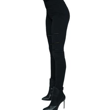 Vocal Mesh Paneled Solid Black Leggings side view