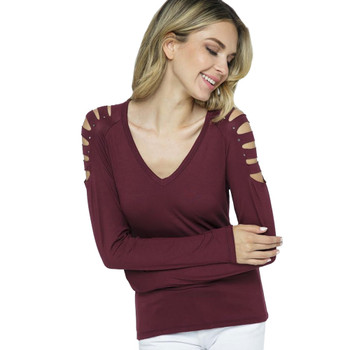 VOCAL Burgundy Long Sleeve Top with Laser Cuts