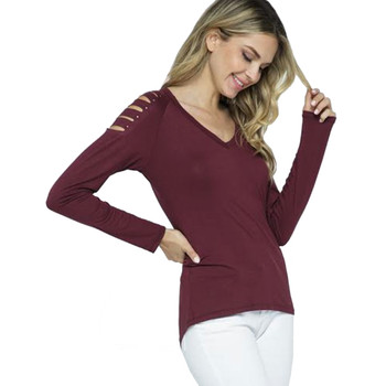 VOCAL Burgundy Long Sleeve Top with Laser Cuts front view