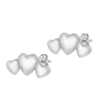 Three hearts sterlings silver stud earrings.