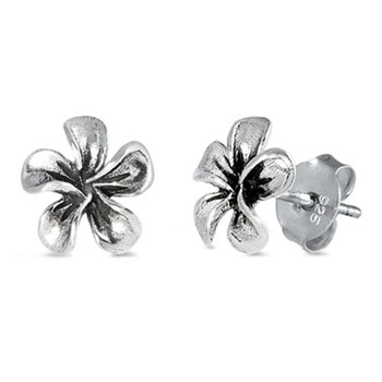 Plumeria flower sterling silver earrings.