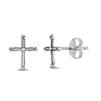 Tiny cross stud earrings.