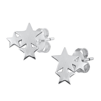 Three stars in a bunch stering silver earrings.