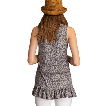 Faded Olive Leopard Print Ribbed Tank Top back view