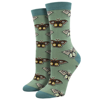 Vintage Moths Women's Bamboo Crew Socks