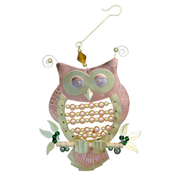 Beaded owl metal Christmas ornament.