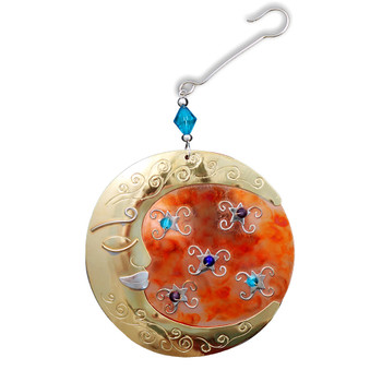 Metal beaded moon Christmas ornament front side.