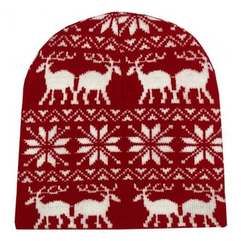 Reindeer and Snowflakes Holiday Beanie Cap