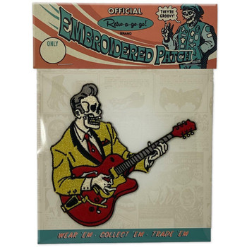 Dead Rocker Embroidered Iron On Patch packaging view