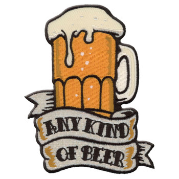 Any Beer Embroidered Iron On Patch