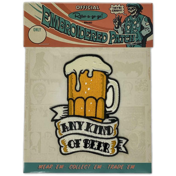 Any Beer Embroidered Iron On Patch packaging view