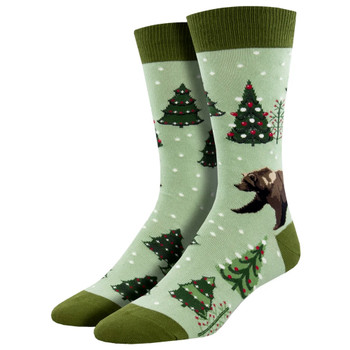 Beary Christmas Men's Holiday Crew Socks