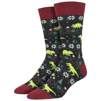 Santasaurus Rex Christmas Holiday Men's Crew Socks