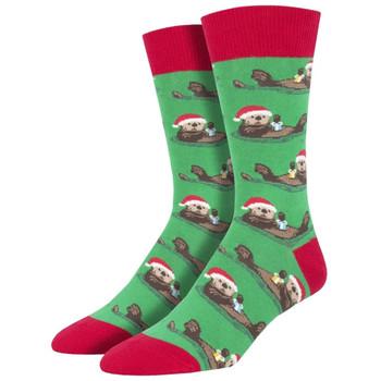 Otterly Merry Holiday Men's Crew Socks
