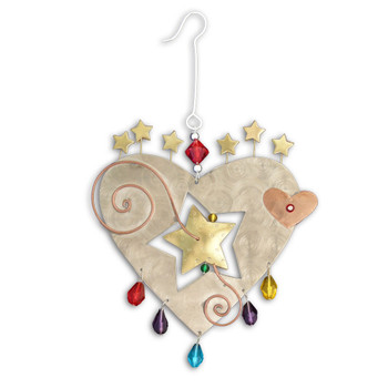 Starburst Heart metal Christmas ornament.