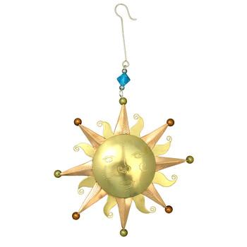 Sun metal Christmas frontside ornament.