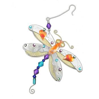 Dragonfly metal Christmas ornament.