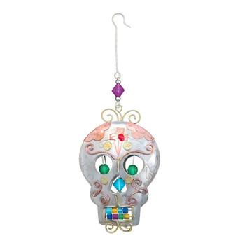 Sugar Skull metal Christmas ornament.